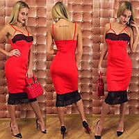 Женское бельевое платье с кружевом
