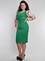 Платье трикотажное по фигуре с атласными рукавами 2045 Батал! (НАТ)