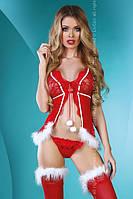 "Новогодний костюм ""Christmas Lady"" №386 пеньюар+стринги+чулки (НБ)"