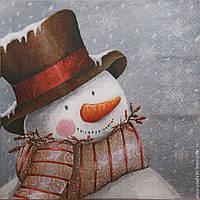 """Салфетка для декупажа """"Снеговик"""", размер 25*25 см, трехслойная"""