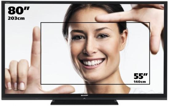 Таблица размеров экрана телевизора в зависимости от диагонали (соотношение сторон 16:9)