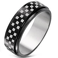"""Мужское кольцо из стали """"Chess"""" с прокручивающимся элементом, в наличии 18, 20.5, 21.5"""