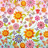 "Салфетка для декупажа ""Цветы"", размер 33*33 см, трехслойная"