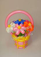 7 ромашек в корзине из воздушных шаров, фото 1