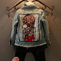 Куртка джинсовая девушка с кошкой 140