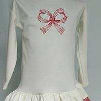 """Подростковая туничка вышивка  """"Бант"""" для девочек от5до 8 лет( рост 110-134)"""