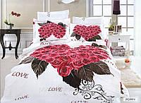 Постельное белье Poppy сатин фотопринт ТМ Arya (Ария) Турция, белый красный розы сердце
