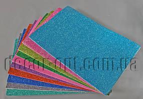 Фоамиран с глитером на клейкой основе 1,5-2мм/20х30см/10шт наб.3