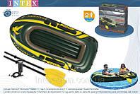 Двухместная надувная лодка Intex 68347 Seahawk-2 Set + пластиковые весла и насос. киев, фото 1