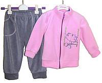 """Флисовый костюм """"Котик"""" на девочку розовый с серым 74-80"""