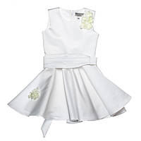 Нарядное атласное платье 15-251 для девочки от 5 до 10 лет (р. 104-134) от ТМ Kids Couture Белый