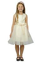 Нарядное платье 15-250 с объемной юбкой для девочки от 4 до 10 лет (р. 98-134) ТМ Kids Couture Молочный