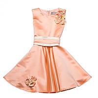 Нарядное атласное платье 15-251 для девочки от 5 до 10 лет (р. 104-134) от ТМ Kids Couture Персиковый