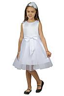 Нарядное платье 15-250 с объемной юбкой для девочки от 4 до 10 лет (р. 98-134) ТМ Kids Couture Белый