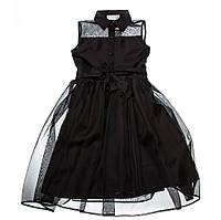 Нарядное платье 15-410 с двойной юбкой для девочки от 7 до 12 лет (р. 116-146) ТМ Kids Couture Черный