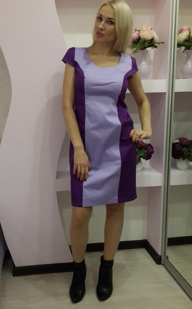 Офисное платье фиолетового цвета со вставкой сиреневого цвета 22076 - Супермаркет одежды Modamart.com.ua в Киеве