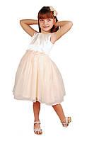 Стильное праздничное платье 15-407 для девочки от 4 до 9 лет (р. 28-34) ТМ Kids Couture Молочный