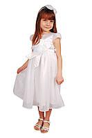 Элегантное праздничное платье Роза 15-404 для девочки от 4 до 9 лет (р. 28-34) ТМ Kids Couture Белый