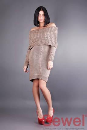 Теплое женское вязаное платье, фото 2