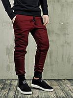 Спортивные штаны утепленные мужские Monochrome - бордовые