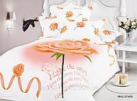 Постельное белье Ring stars, сатин фотопринт ТМ Arya (Ария) Турция, белый персиковый розы