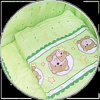 """Наволочка для детской подушки """"Мишка в круге"""" 60х40 см, ТМ Ромашка Зеленый"""