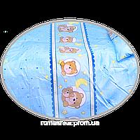 """Простынь на резинке в детскую кроватку """"Мишка в круге"""" 120х60 см, ТМ Ромашка Голубой"""