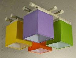 Люстра 4-х ламповая, металлическая, с деревом для детской комнаты 14907-3