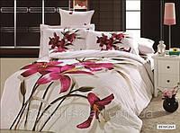 Постельное белье Benigna сатин фотопринт ТМ Arya (Ария) Турция, белый пурпурные лилии
