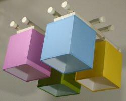 Люстра 4-х ламповая, металлическая, с деревом разноцветная для детской комнаты 14907-5