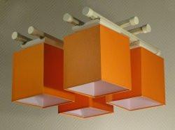 Люстра 4-х ламповая, металлическая, с деревом оранжевая для детской комнаты 14907-8