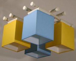 Люстра 4-х ламповая, металлическая, с деревом голубая для детской комнаты 14907-10