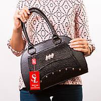 Женская сумка черный каркасный овальный саквояж