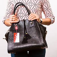 Черная большая сумка-трапеция женская дамская