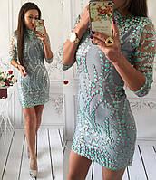 Коктейльное бирюзовое платье расшитое пайетками