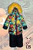 Зимние комбинезоны для девочек с мехом на капюшоне, фото 2