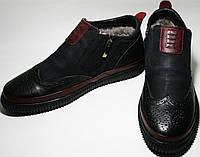 Ботинок зимний мужской Rifellini Rovigo C - 8201 оксфорды, черные с красным, молния, нат. мех/кожа/нубук.