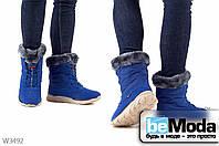 Красивые ботинки женские на искусственном меху Sayota S.Blue/Red из экокожи и плотной плащевой ткани на шнуровке синие