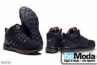Удобные мужские кроссовки на искусственном меху Sayota Black/Red из экокожи и искусственного нубука оригинального фасона синие