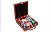 Покер в деревянном кейсе 100 фишек