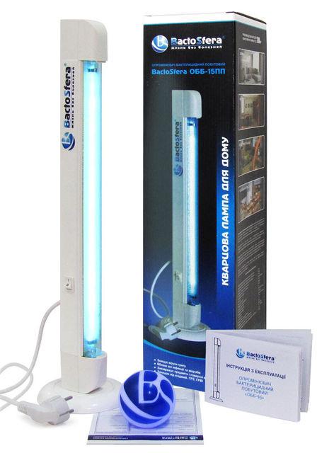 Облучатель бактерицидный бытовой BactoSfera OBB 15P ECO (небьющаяся безозоновая лампа)