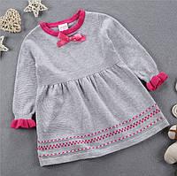 Платье детское с длинным рукавом вязаное для девочки