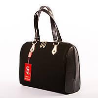 Женская сумка ракушка из черной эко-замши