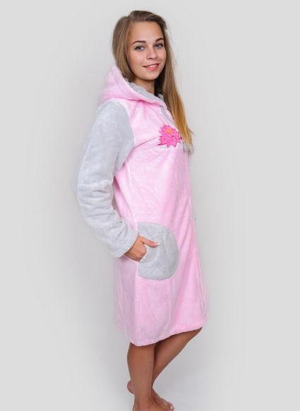 Жіночий халат махровий рожевий