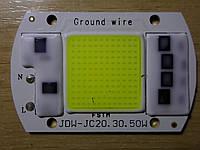 Светодиод COB  50вт (w), 5200Lm,, 6500К, с встроенным драйвером 220В