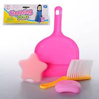 Набор для уборки: щетка, совок, мыло, губка, в пак. 18,5*28*4см (300шт)