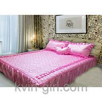 Покрывало 180 х 210 с подушками + подушка сердце (атлас) розовый