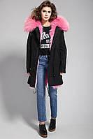 Шикарная Парка Женская  удлиненная с шикарной опушкой из натурального меха Енота Розовый Рай