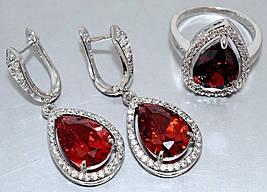"""Набор  """"серьги и кольцо"""",покрытие родием. Камень: белый и красный циркон. Высота серьги: 4 см Ширина: 15 мм."""