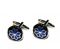 """Запонки """"Голубой цветок"""", круглие, серебристые"""
